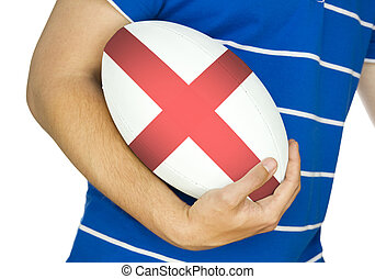rugby player with england rugby ball