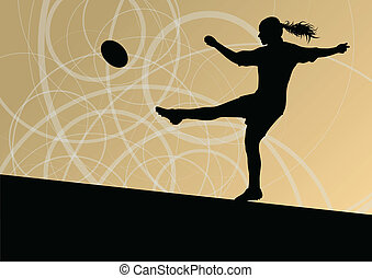 Rugby player woman silhouette vector background