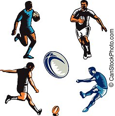 Rugby Player Woodcut Collection