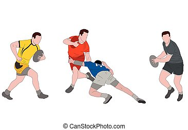 rugby players detailed color illustration