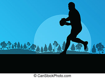 Rugby playing man silhouette in countryside nature ...
