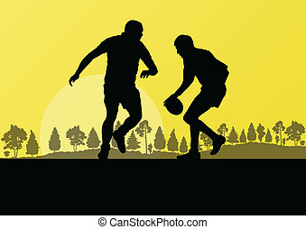 Rugby playing man silhouette in countryside nature background il