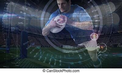 rugby, plongée, joueur boule