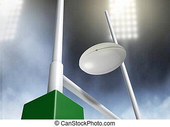 rugby, postes, conversión, noche