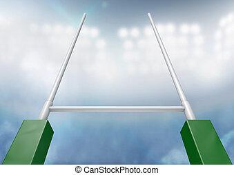 rugby, postes, estadio, noche