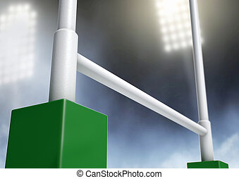 Rugby Posts Stadium Night - A closeup of rugby posts in a...