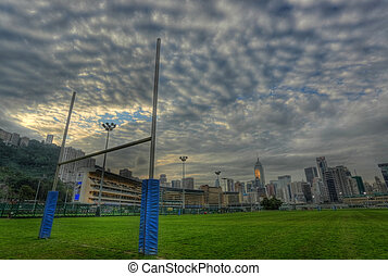 rugby, poteaux but, dans, hdr