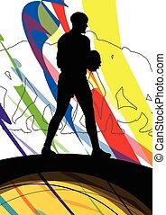 rugby, résumé, hommes, jeune,  Illustration, joueur,  silhouettes, fond, actif,  Sport