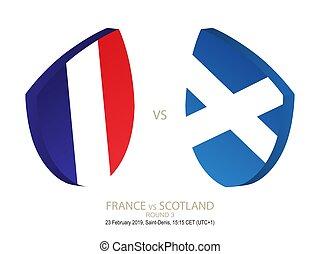 rugby, scozia, sei, campionato, francia, 3, vs, 2019, nazioni, rotondo