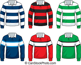 Rugby Shirts - A variety of different colored rugby style...