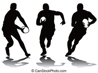 rugby, silhouette, drei