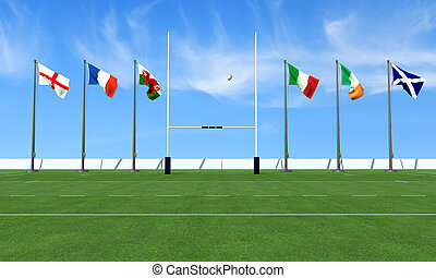 rugby six nations - rugby field with the flags of the teams...