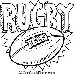 Rugby sketch - Doodle style rugby sports illustration. ...