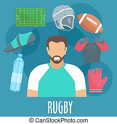 Rugby sport equipment and outfit elements. Rugby man player...