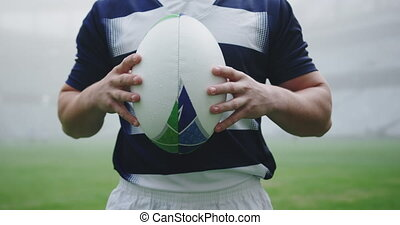 rugby, stade, balle, tenue, mâle, joueur, 4k