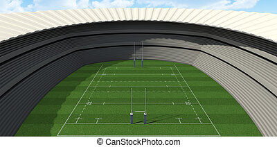 Rugby Stadium Day - A rugby stadium with rugby posts on a...
