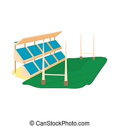 Rugby stadium icon, cartoon style