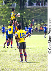 Rugby - A Rugby Sevens match in progress.