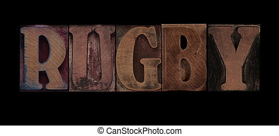 rugby - the word rugby in old letterpress wood type