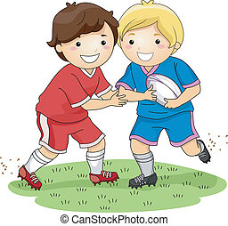 Rugby Tackle - Illustration Featuring Little Boys Dressed in...