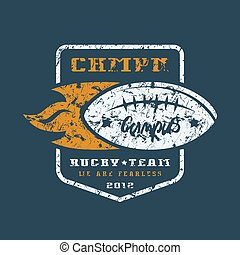 Rugby team badge with shabby texture. Graphic design for t-shirt. Color print on black background