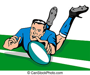 rugby union player - illustration of a rugby player with...