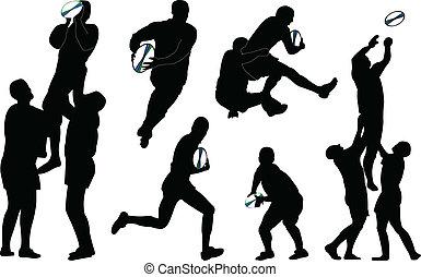 rugby, vecteur, -