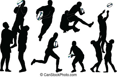 rugby - vector - illustration of rugby players in action -...