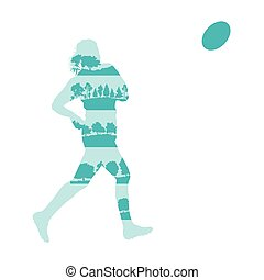 Rugby woman player active sport background illustration concept made of forest trees fragments isolated