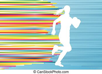 Rugby woman player active sport silhouette abstract background vector illustration