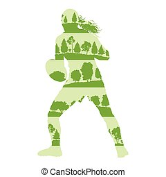 Rugby woman player active sport vector background illustration concept made of forest trees fragments isolated