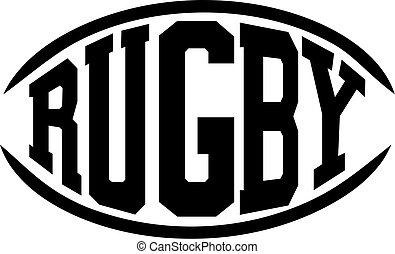 Rugby word in shape of a rugby ball