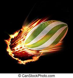 rugbybal, door, vuur
