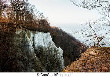 White chalk cliff on Jasmund National Park on German island Rugen.,