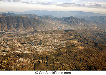 Rugged Andean scenery viewed from the air - In the ...
