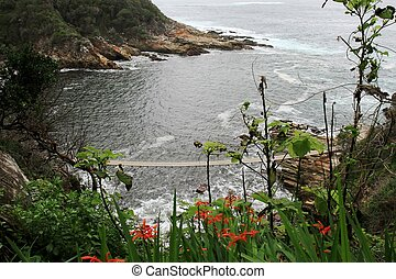 Rugged Coastline - Coastline with suspension bridge in...