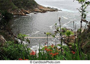 Rugged Coastline - Coastline with suspension bridge in...