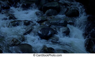 Rugged Mountain River In The Evening - Rocky river at dusk...