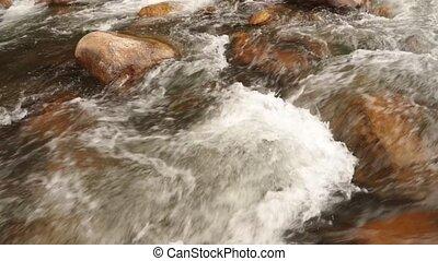 Rugged Mountain River Scene Panning Panoramic - Mountain...