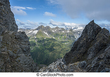 Rugged mountains - Beautiful snow-capped mountain range of...