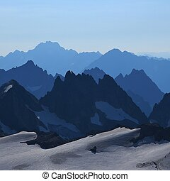 Rugged mountains seen from mount Titlis, Switzerland. - View...