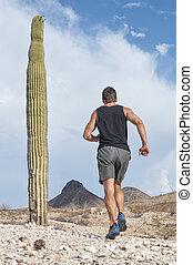 Rugged run - Muscular Caucasian male runner in shorts and...