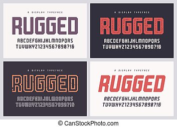 Rugged san serif vector font, alphabet, typeface, uppercase ...