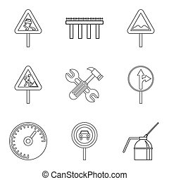 Rugged terrain icons set, outline style - Rugged terrain ...