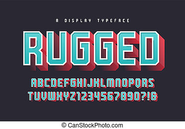 Rugged vector stylish 3d display typeface, font, uppercase...