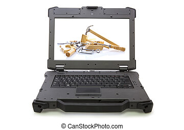 ruggedized, laptop, con, carpenteria, attrezzi, su, withe, fondo