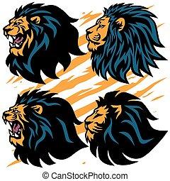 ruggito, leone, progetto serie, premio, illustrazione, collection., mascotte, vettore, cartone animato, logotipo, pacco