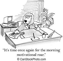 rugido, é, motivação, tempo, manhã