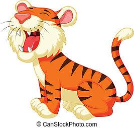 rugido, tigre, caricatura, lindo