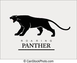 rugindo, pretas, panther.